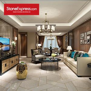 Beige & Gold Marble Waterjet Stone Tiles Design Patterns ZP-06