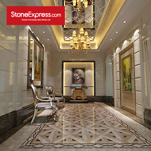 Beige Dark & Light Marble Waterjet Floor Tiles Design Patterns MF-04-66