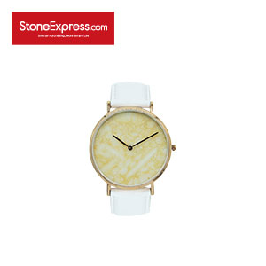 Beige Quartzite Luxury Watch with Genuine Leather Strap KSB-XM-1002