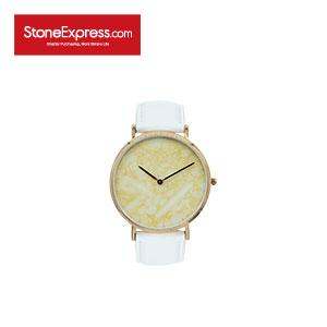 Beige Quartzite Luxury Watch with Genuine Leather Strap KSB-XM-1002