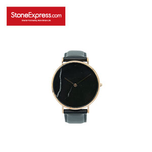 Black Quartzite  Luxury Watch with Genuine Leather Strap KSB-HBG-1002