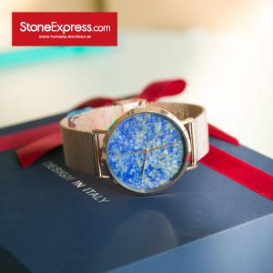 Blue Quartzite Luxury Watch with Genuine Leather Strap UQ-QJ-001