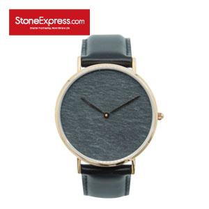 Gray Quartzite Luxury Watch with Genuine Leather S