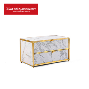 Carrara White Marble Lidded Jewelry Box SSH-KLLB-007M