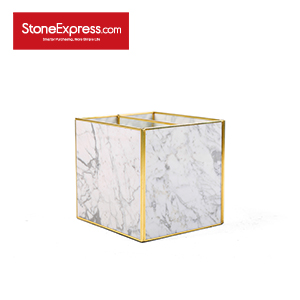 Carrara White Marble Lidded Jewelry Box SSH-KLLB-009M