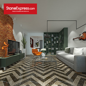Stone Fishbone Pattern Chevron Tiles ZP-1513