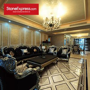 Beige & Black Marble Floor Tiles Design  MF-45-88