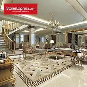 Beige & Brown Marble Floor Tiles Design MF-46-88