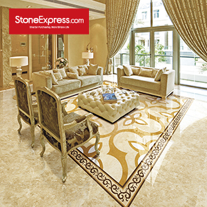 Beige & White & Yellow Marble Floor Tiles Design  MF-47-88