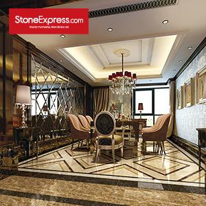 Yellow & Beige & Brown Marble Floor Tiles Design  MF-55-88
