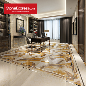 Yellow & Beige & Brown Marble Floor Tiles Design  MF-69-88