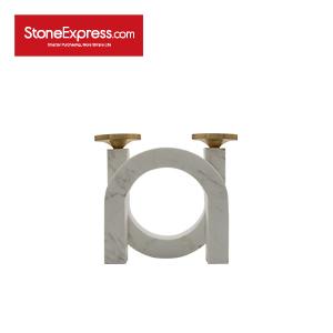 Carrara White Base U-Shape Marble Candle holder-Low-ZT-001
