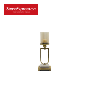 Carrara White and Brass Base Marble Candle Stand-ZT-005