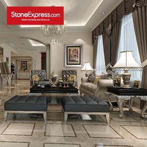 Light Brown & Beige & Dark Brown Marble Floor Tiles Design MF33A