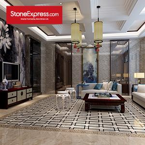 Beige & Black Marble Floor Tiles Design MF37