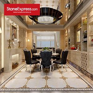 Blanco & Gold & Black Marble Floor Tiles Design MF47