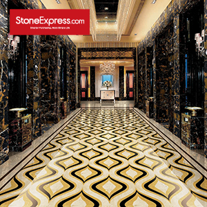 Beige & Gold & Black Marble Floor Tile MF17