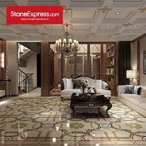 Beige & Green & White Marble Design Patterns Waterjet Tiles KM34-66