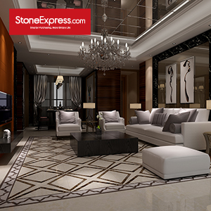 Cream & Dark Brown Marble Design Patterns Waterjet Stone Tiles KM29-66