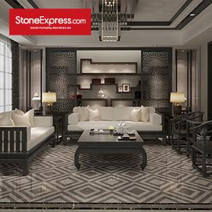 Grey & White Marble Design Patterns Waterjet Stone TilesKM28-66
