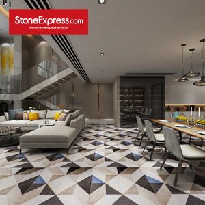 Grey & Black & White Marble Inlay Brass Modern Style Design Patterns CM1001