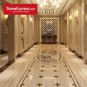 Beige Marble Floor Tiles Waterjet Design Patterns CM46