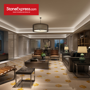 Cream & Gold Marble Waterjet Tiles Luxury Design Patterns MF-13