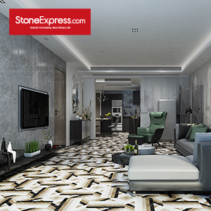 Black & White & Grey Marble Floor tiles Design BM09