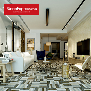 Grey & Beige & Brown Marble Waterjet Floor Tiles BM18
