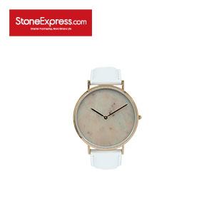 Pink Quartzite Luxury Watch with Genuine Leather Strap KSB-FD-1002