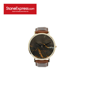 Black Gold Quartzite Luxury Watchwith Genuine Leather Strap KSB-JQM-1002A