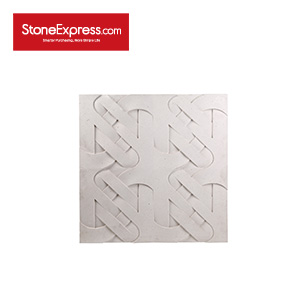 White Limestone CNC Engraving 3D Marble Wall Features BW-113-BS