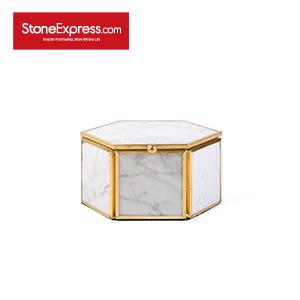 Carrara White Marble Lidded Jewelry Box SSH-KLLB-008M