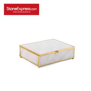 Carrara White Marble Lidded Jewelry Box SSH-KLLB-001M