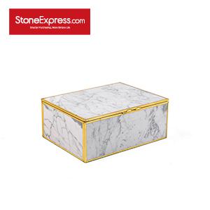 Carrara White Marble Lidded Jewelry Box SSH-KLLB-002M
