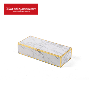 Carrara White Marble Lidded Jewelry Box SSH-KLLB-003M