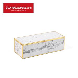 Carrara White Marble Lidded Jewelry Box SSH-KLLB-004M