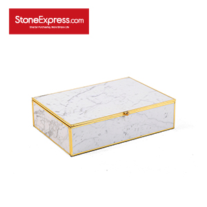 Carrara White Marble Lidded Jewelry Box SSH-KLLB-005M