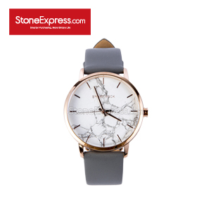 Italy Statuario White Deluxe Watch with Genuine Leather Strap SR-BS