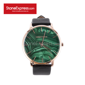 Peacock Green Quartzite Deluxe Watch with Genuine Leather Strap SR-KQ