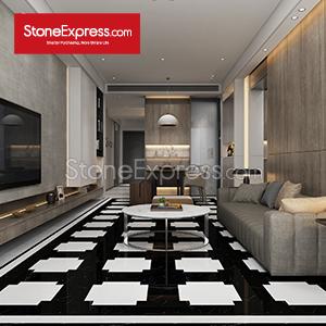 Black-White Marble Composite Floor Tiles 06