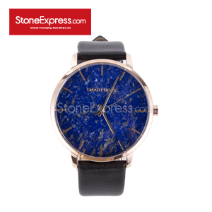 Royal Blue Quartzite Deluxe Watch with Genuine Leather Strap SR-QY