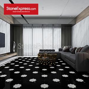 Black-White Marble Composite Floor Tiles 08