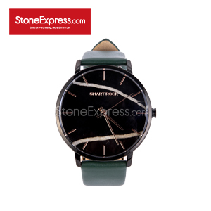 Timeless Black Quartzite Deluxe Watch with Genuine Leather Strap SR-HBG-42